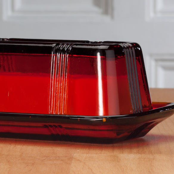Red Depression Glass Butter Dish - View 2