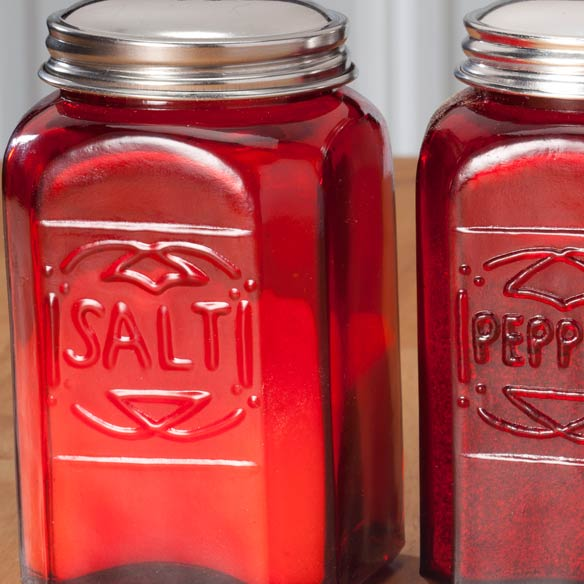 Red Depression Glass Salt & Pepper Shakers - View 2