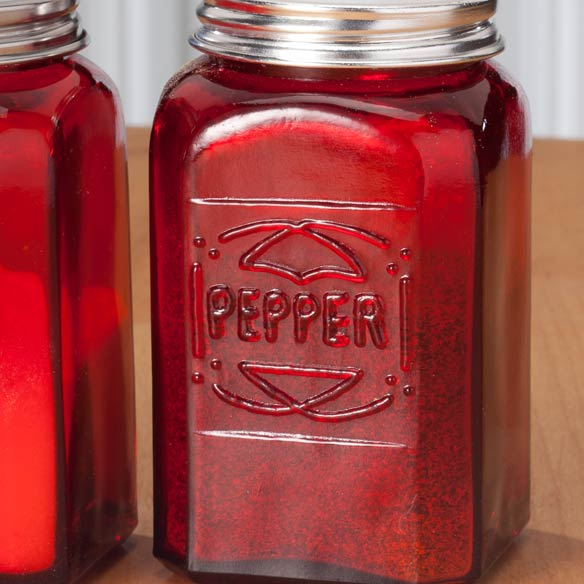 Red Depression Glass Salt & Pepper Shakers - View 3