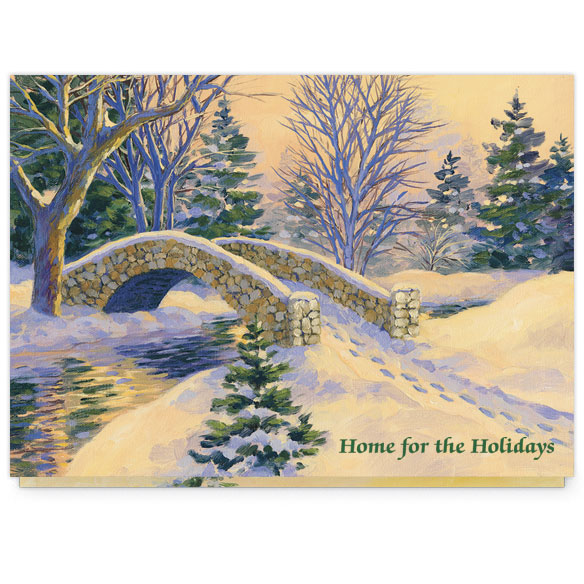 Snowy Footbridge Christmas Card Set/20 - View 2