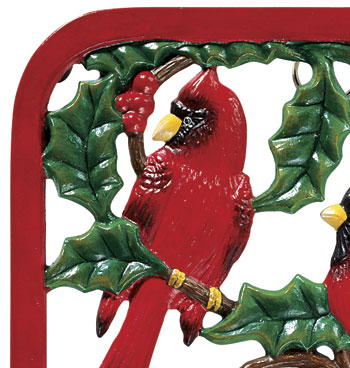 Winter Cardinals Cast Iron Trivet - View 2