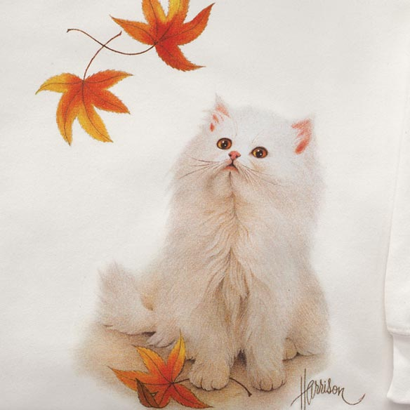 Puppy and Kitten in Falling Leaves Sweatshirt