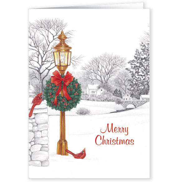 Lamppost Christmas Card Pers Set of 20 - View 2