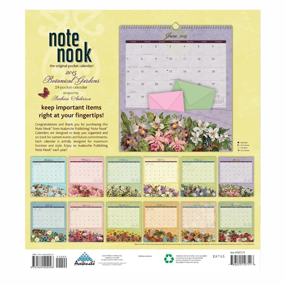 Floral 12-Pocket Wall Calendar - View 2