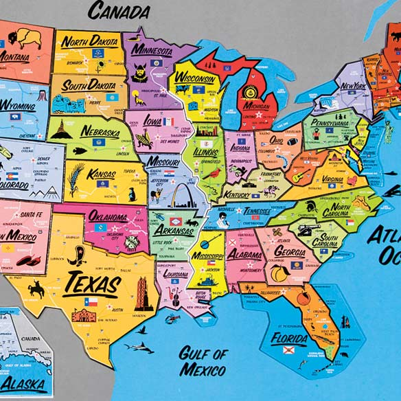 USA Magnetic Puzzle Map - View 3