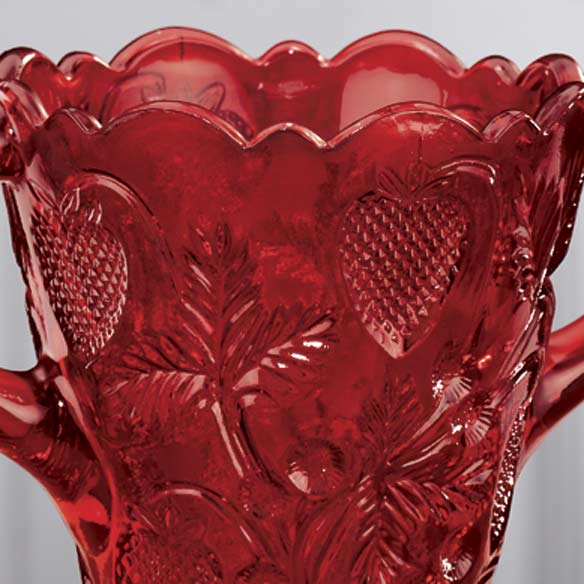 Red Depression Style Glass Strawberry Design Spooner - View 3