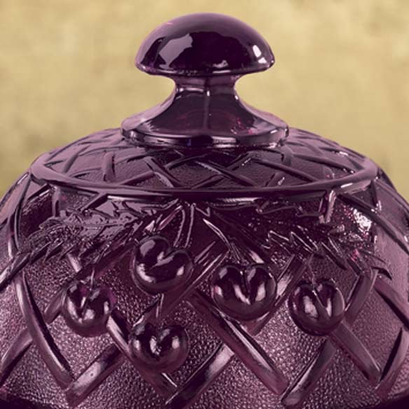 Amethyst Depression Style Glass Domed Butter Dish - View 2