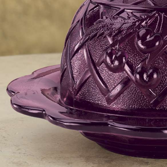 Amethyst Depression Style Glass Domed Butter Dish - View 3