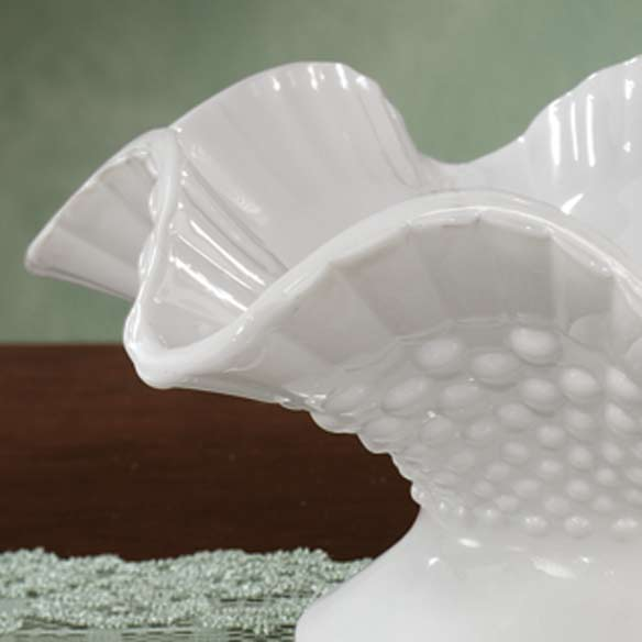 White Hobnail Depression Style Glass Fluted Bowl - View 2