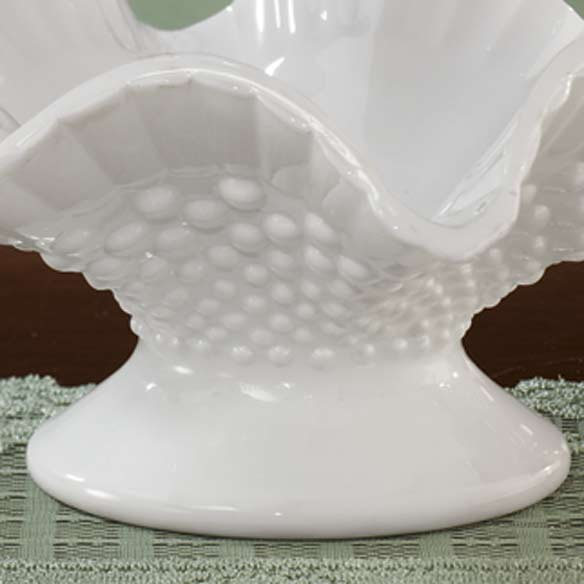 White Hobnail Depression Style Glass Fluted Bowl - View 3