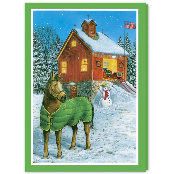 Holiday Horse and Stable Christmas Card Set/20 - View 2