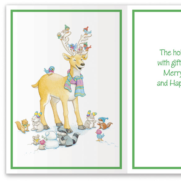 Reindeer and Birds Nonpersonalized Card Set