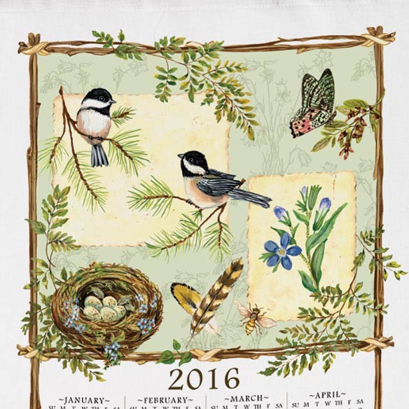 Personalized Nature's Sketchbook Calendar Towel - View 2