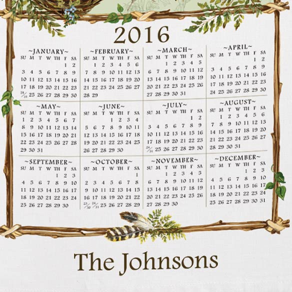 Personalized Nature's Sketchbook Calendar Towel - View 3