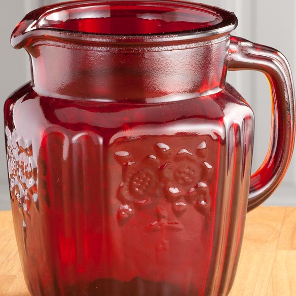 Red Depression Style Glass Pitcher - View 2