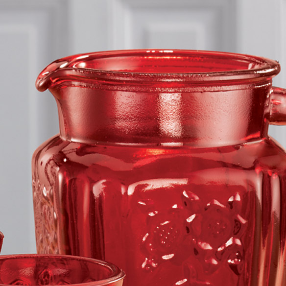 Red Depression Style Glass Pitcher - View 3