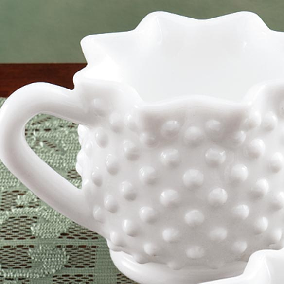 White Hobnail Depression Style Glass Sugar Bowl - View 2