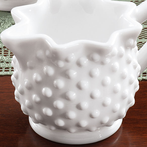 White Hobnail Depression Style Glass Creamer - View 2