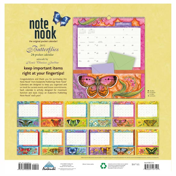 Butterfly 12 Pocket Wall Calendar - View 2