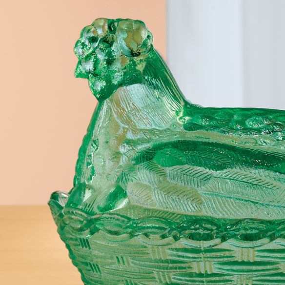 Green Depression Style Glass Hen Candy Dish - View 2