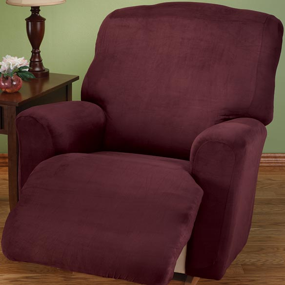 Faux Suede Large Recliner Slipcover Set - View 2