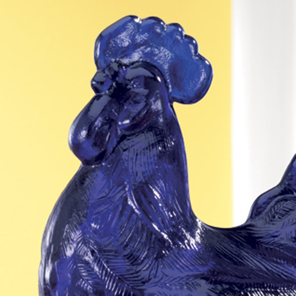 Cobalt Blue Glass Rooster Candy Dish