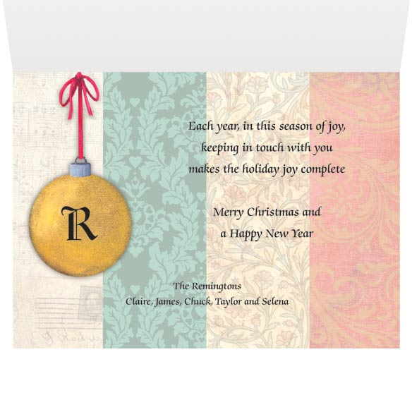 Monogram Ornament Christmas Card Set of 20 - View 3