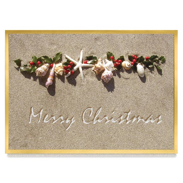 Seashell Garland Christmas Card Set of 20 - View 2