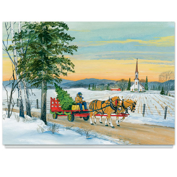 Wagon Ride Christmas Card Set of 20 - View 2