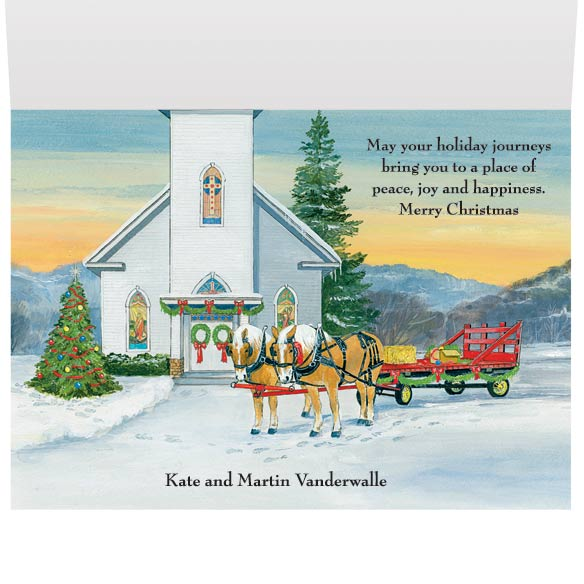 Wagon Ride Christmas Card Set of 20 - View 3