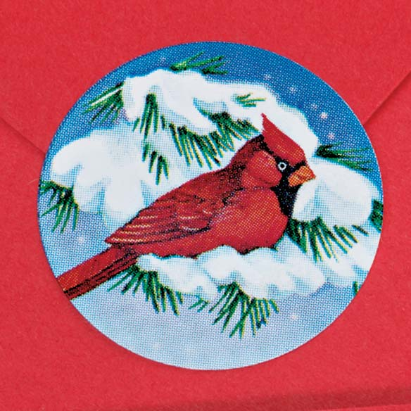 Snowy Cardinal Labels & Seals - Rolls Of 250 - View 2