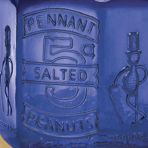 Cobalt Blue Glass Large Peanut Jar - View 2