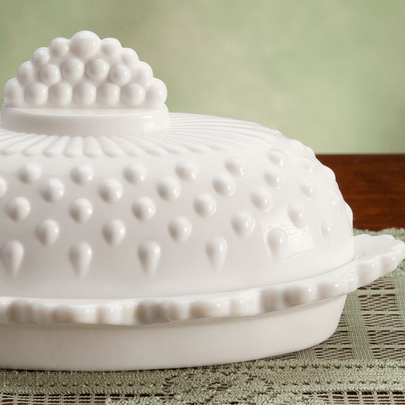White Hobnail Depression Style Glass Butter Dish - View 2