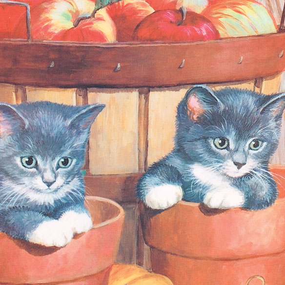 Kitten and Apples Garden Flag