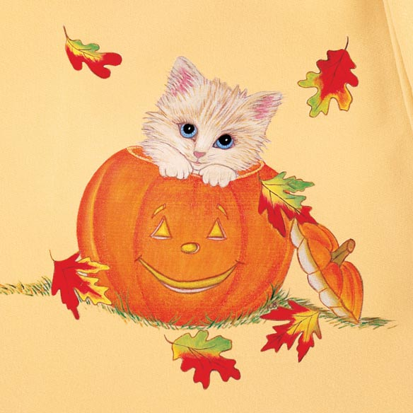Kittens in Jack-O-Lantern short Sleeve Sweatshirt - View 2