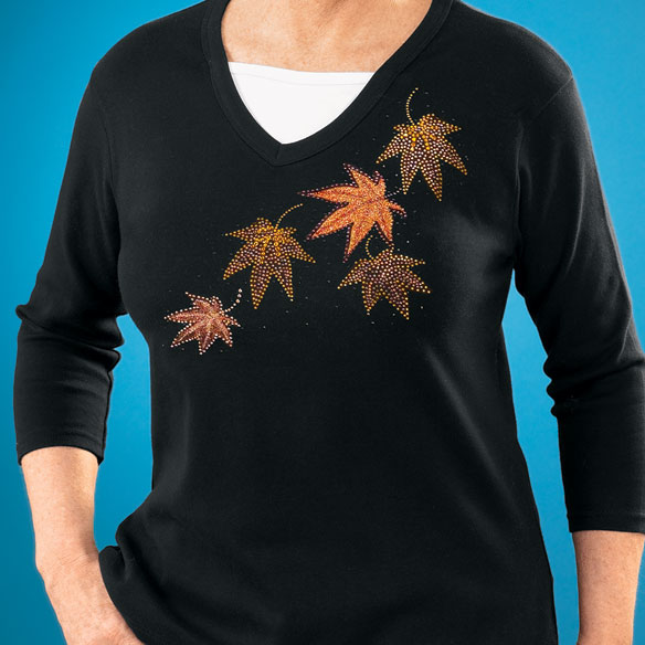 Glittering Leaves Stretch Knit Top - View 2