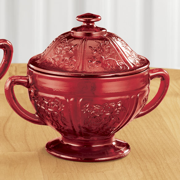 Red Depression Style Glass Sugar & Creamer Set - View 2