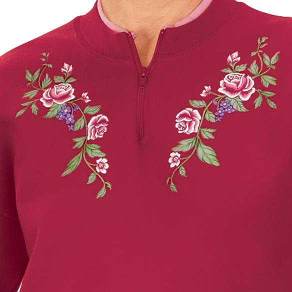 Tea Roses Short Sleeve Sweatshirt Small - View 2