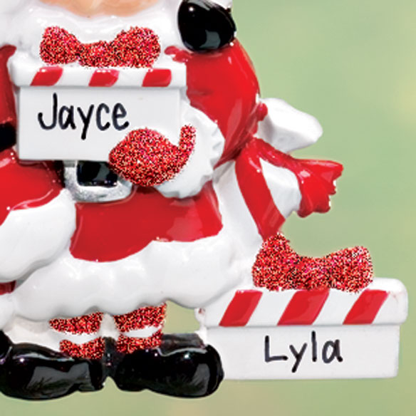 Personalized Santa & Mrs Claus 3 Presents Ornament