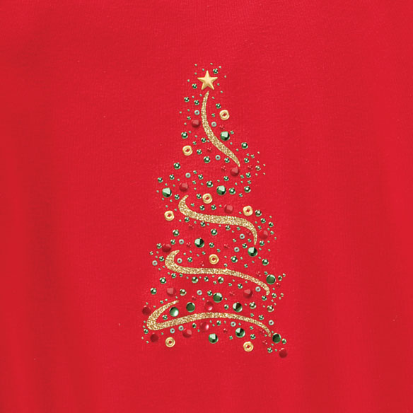 Sparkling Ribbon Tree 3/4 Sleeve Shirt