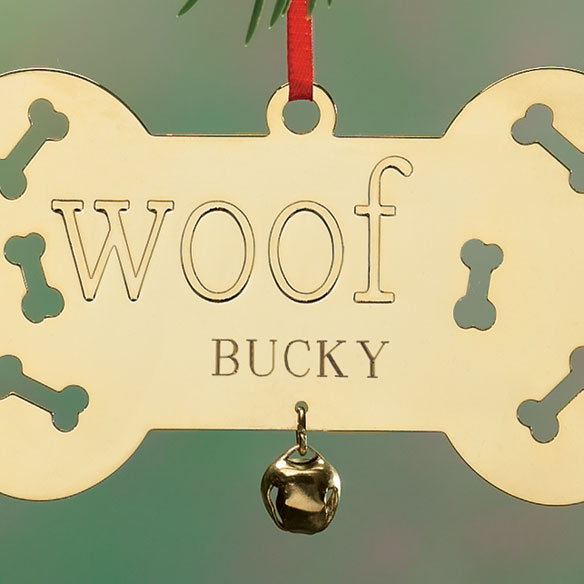 Personalized Woof Brass Ornament - View 2