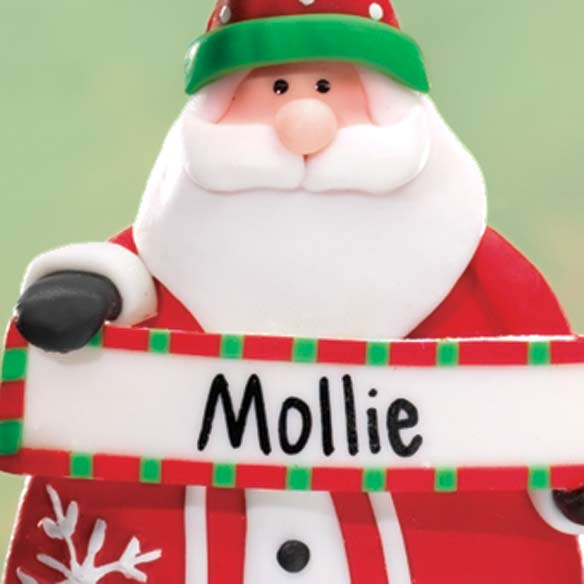 Personalized Santa With Sign Ornament - View 2