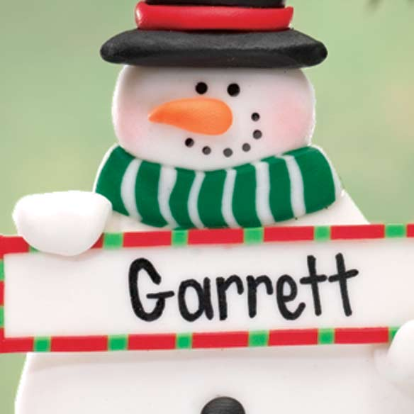 Personalized Snowman Ornament with Sign - View 2