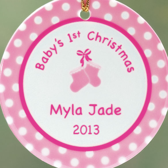 Personalized Baby Girl's First Christmas Porcelain Ornament - View 2