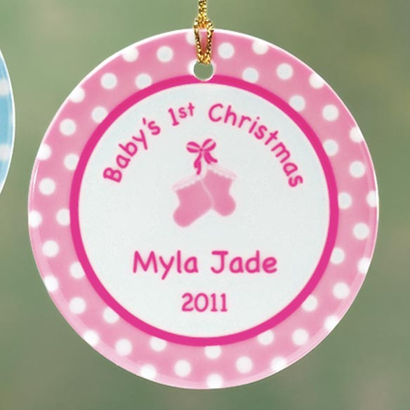 Personalized Baby Girl's First Christmas Porcelain Ornament - View 3