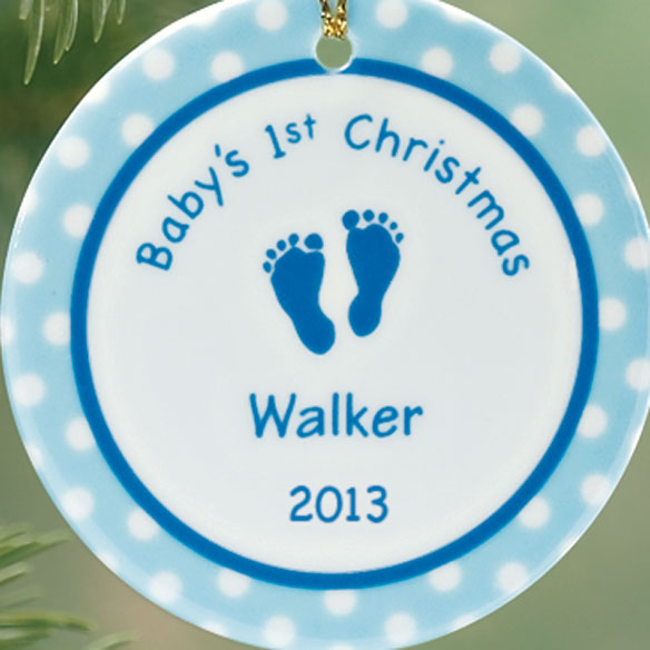 Personalized Baby Boy's First Christmas Porcelain Ornament - View 2