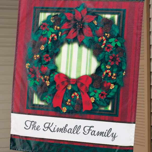 "Personalized Classic Wreath 27"" x 37"" Flag - View 2"