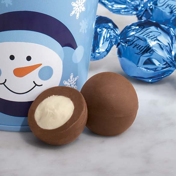 Snowman Holiday Pail with White Chocolate Truffles - View 2