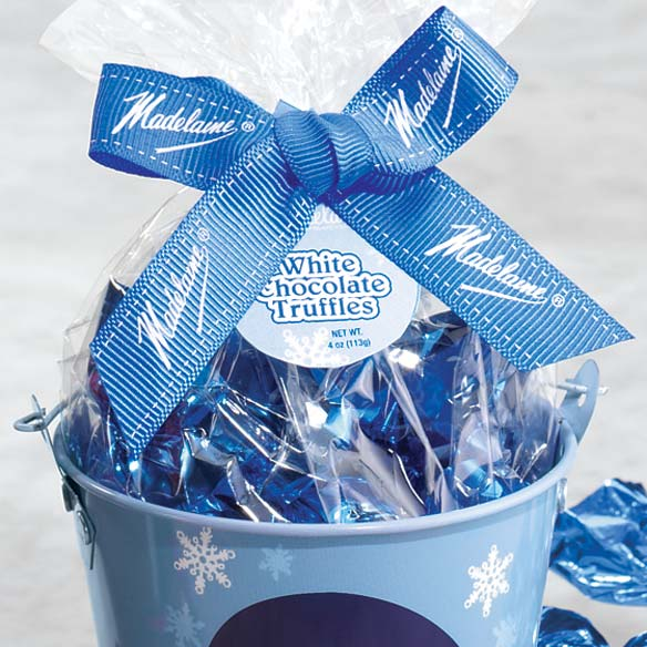 Snowman Holiday Pail with White Chocolate Truffles - View 3