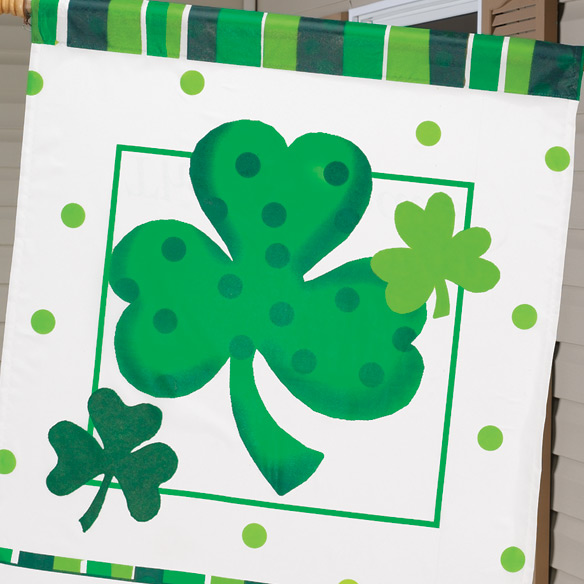 "Personalized Shamrock 27"" x 37"" Flag - View 2"